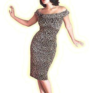 STOP STARING! Velvet Leopard Wiggle Pinup Dress